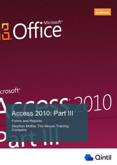 Access 2010: Part III